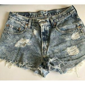 Levi's 569  Cut Off Denim Shorts 32 Acid Wash